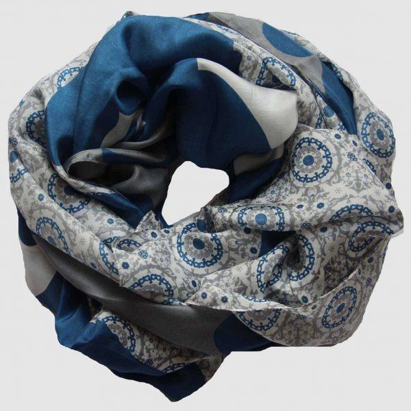 grand foulard soie 1001 nuit bleu