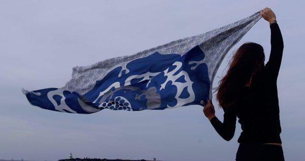 Echarpe XL en soie 1001 nuits Bleu
