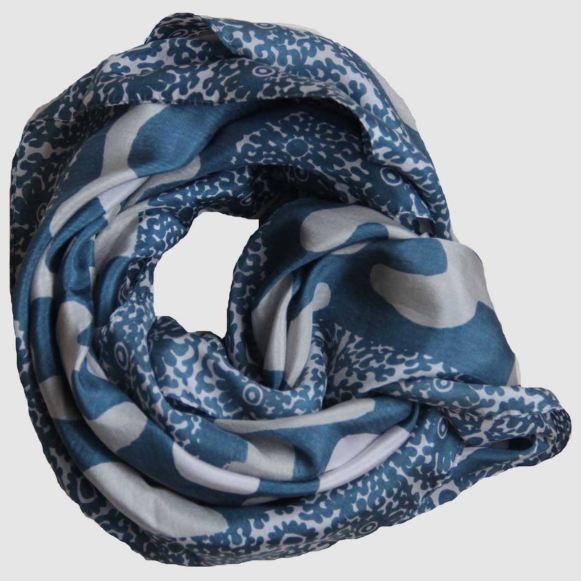 Carré soie Source - Bleu