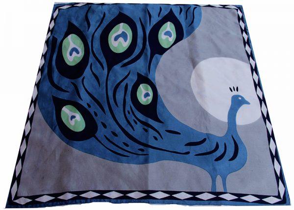 foulard soie mini-paon-gris-2