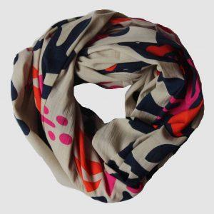foulard coton bio folk fuchsia