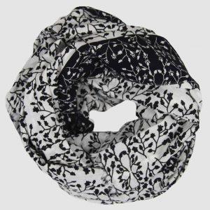 foulard coton bio gypsophile Noir et blanc