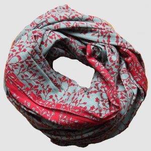 foulard coton bio gypsophile rouge