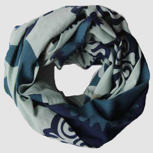 foulard coton bio Oural bleu
