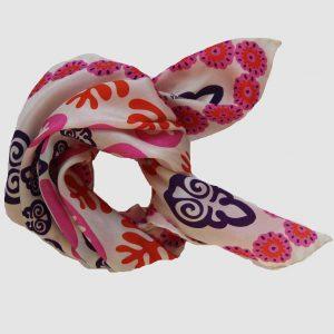 mini foulard en soie Petruchka Rose Les Belles Vagabondes